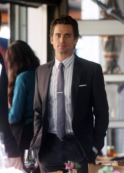Matt Bomer Pocket Square Tie Clip Via  Matt Metzgar