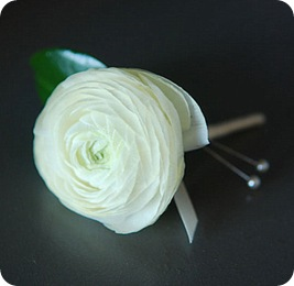 White ranunculous boutonniere  Source