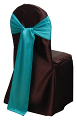 brown aqua sash chair cover