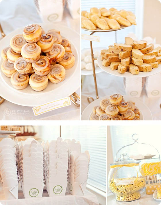 candy buffet chinese takeout boxes biscotti cinnamon rolls cookies