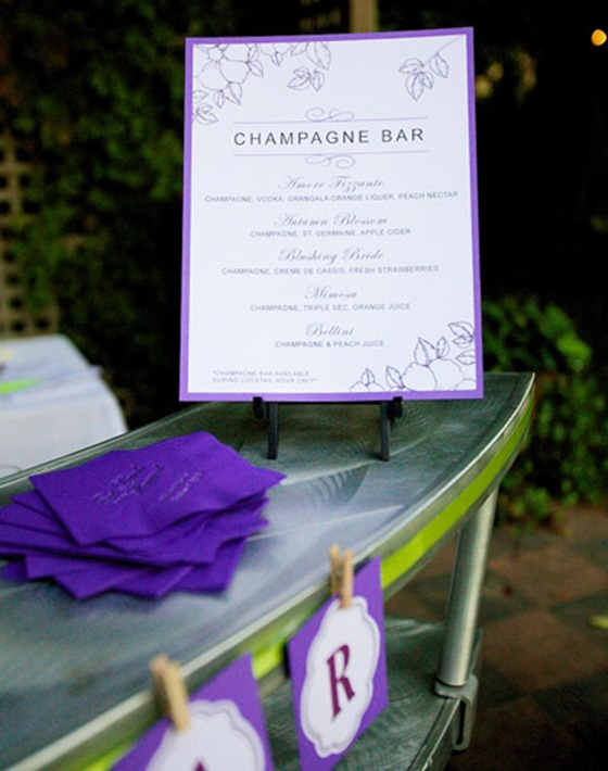 galleria marchetti wedding purple champagne bar sign 1