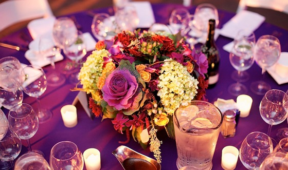 galleria marchetti wedding purple low floral centerpiece scarlet petal chicago