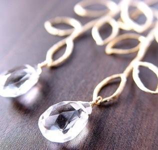 leaf white topaz earrings