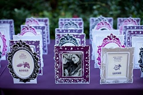 purple frame escort cards