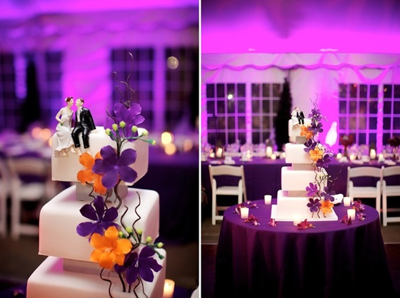 purple uplighting galleria marchetti chicago orange purple wedding cake amy beck cake design classic cake topper steve koo sweetchic-tile