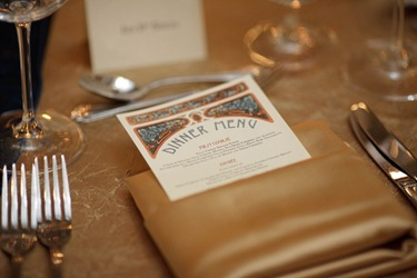 rookery building wedding chicago table setting dinner menu 2