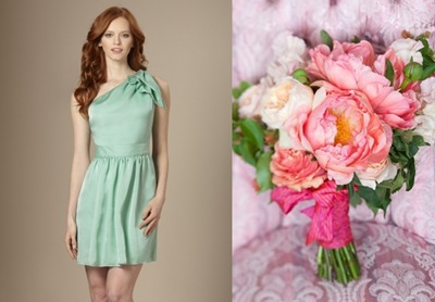seafoam one shouldered dress limited coral charm peonies