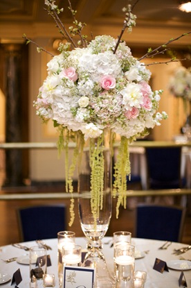 sweetchic events tall centrpiece hanging amaranthus pink green white peonies roses cherry blossom