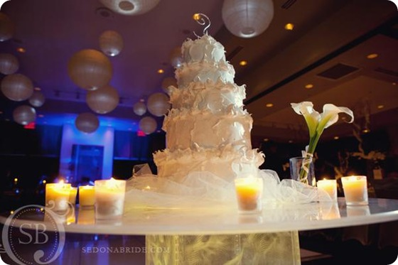 white frothy wedding cake