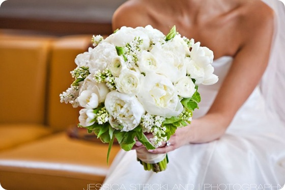 white wedding bride bouquet peonies ranunculous tulips  Source