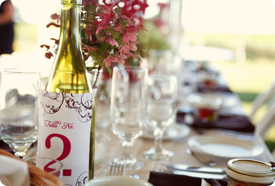 wine bottle table number