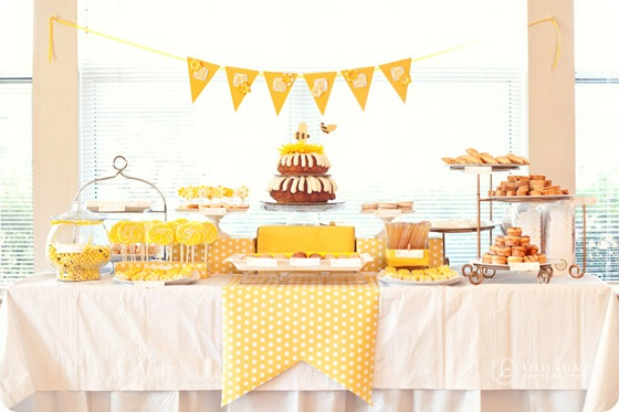 yellow candy cookie table tablescape whimsical