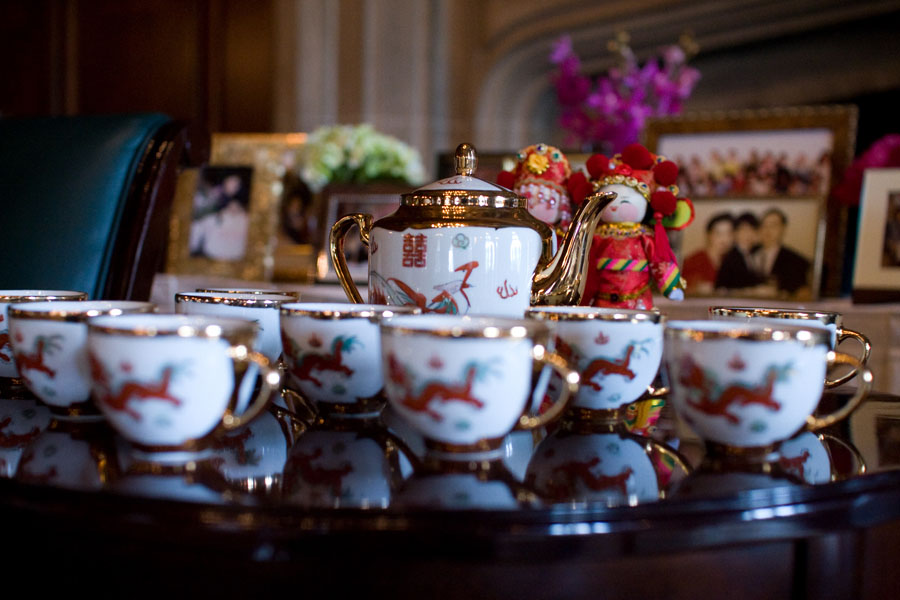 19 University Club Chicago Wedding Sweetchic Events Second Print Productions. Traditonal Tea Ceremony. Tea Set..jpg