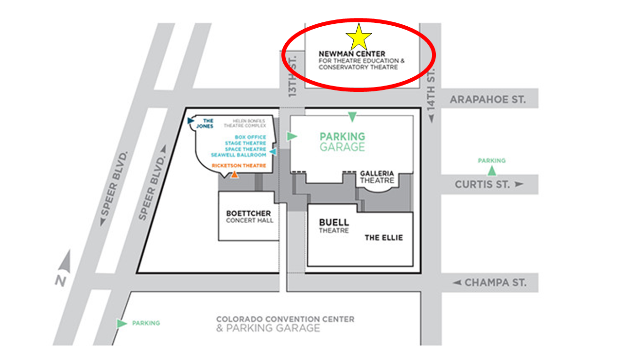 Venue Information - The Conservatory Theatre and Studio 12 are inside the Newman Building for Theatre Education. The DPAC parking garage is located across Arapahoe Street.