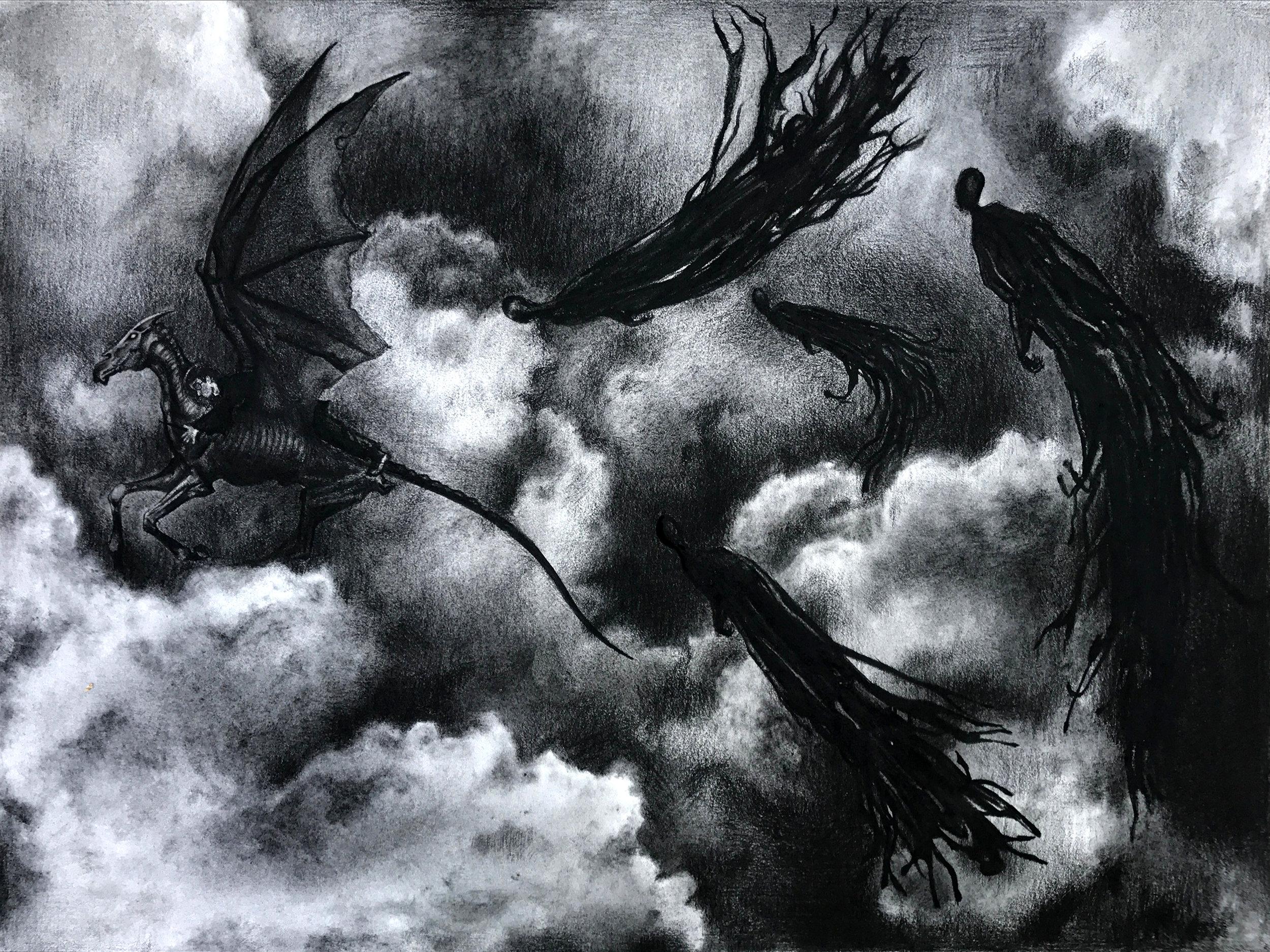 "Dark Night   18"" x 24"" Charcoal"