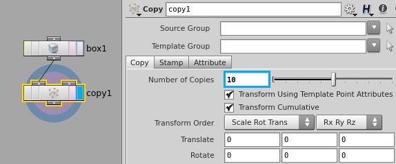 'box1' 노드를 'copy1' 노드 두 번째 인풋에 연결하지 않도록 주의한다.