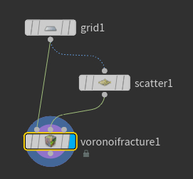 연결후 ' voronoifracture1 ' 노드의 Display Flag 를 선택한다.