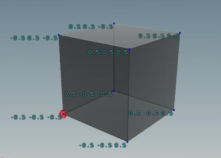 min bbox: 값이 가장 낮은 빨간점의 P값 (-0.5,-0.5,-0.5)