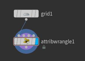 연결한 뒤에는 'attribwrangle1' 노드의 Display Flag 를 선택한다.