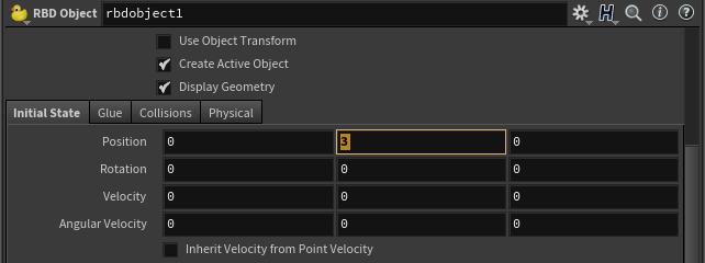 [Initial State] 탭은 다이나믹 최초(Frame:1) 에 해당 오브젝트의 위치 또는 회전값을 정해 준다.