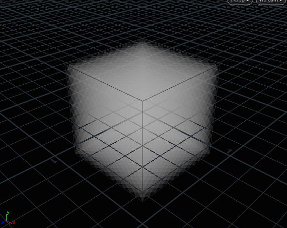 위와 같은 Geometry 레벨에서의 볼륨과 DOP Network 안의 Voxel Grid 를 혼동하지 않도록 주의한다. 'volume1' 노드는 볼륨 생성시 만들어지는 Volume Box 이고 이 볼륨이 다이나믹에 이용될 때 볼륨이 운동할 수 있는 공간이 Voxel Grid 이다.