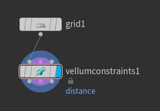 연결후에는 'vellumconstraints1' 노드의 Display Flag 를 선택한다.