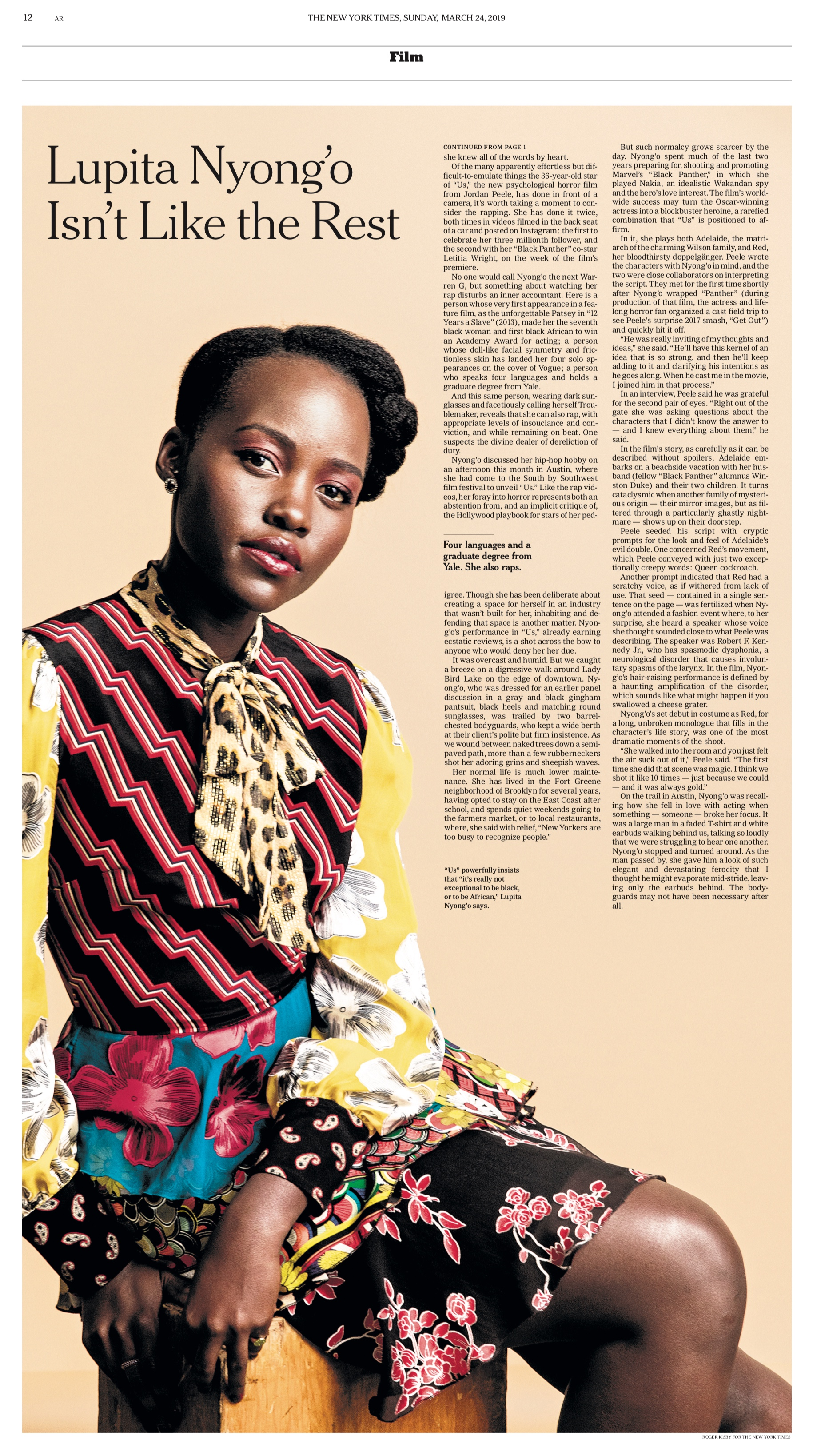 Lupita Nyong'o for  The New York Times