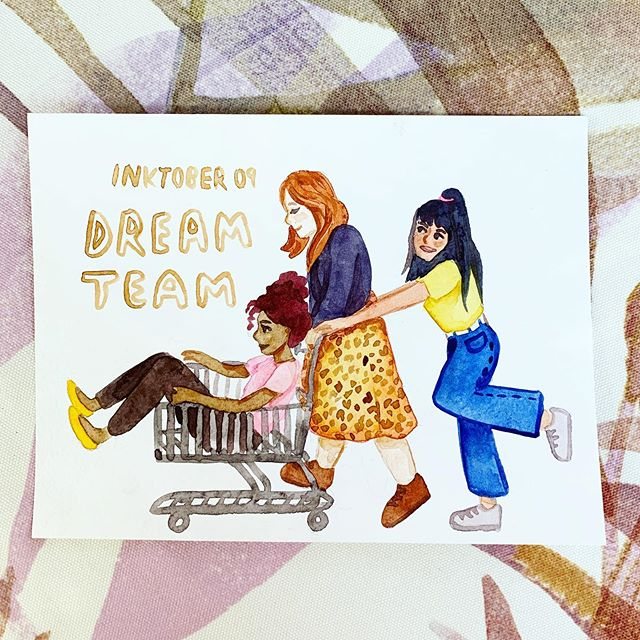 #inktober Day 9: Dream Team 👯♀️ I didn't know what I was going to draw for this prompt but then I saw some teens at the grocery store doing a hilarious shopping cart maneuver and knew what I had to do 😆 #mjinktober