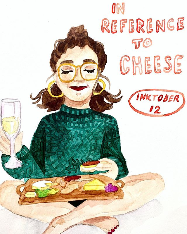 #inktober Day 12: In Reference to Cheese... 🧀 This is the way I really want to enjoy a cheeseboard; all to myself with no pants holding me back from eating the whole thing 😳🧀🧀🧀
