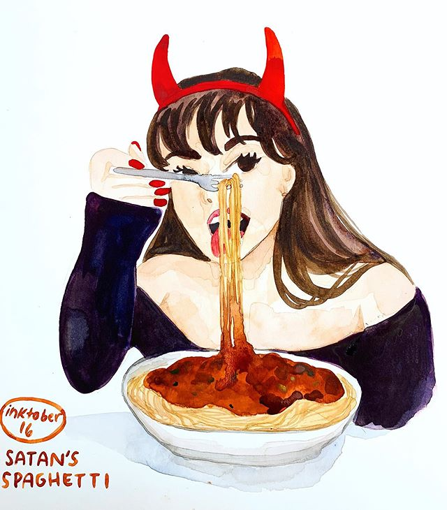 #inktober Day 16: Satan's Spaghetti 😈🍝 @williamvanheusen can attest to the fact that I can be a bit of a devil woman when I'm hangry 🍔🌯🍕🍜🥪 #mjinktober