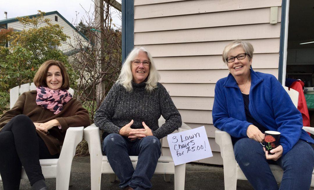 Three chairs, $5! Three garage sale ladies: priceless!