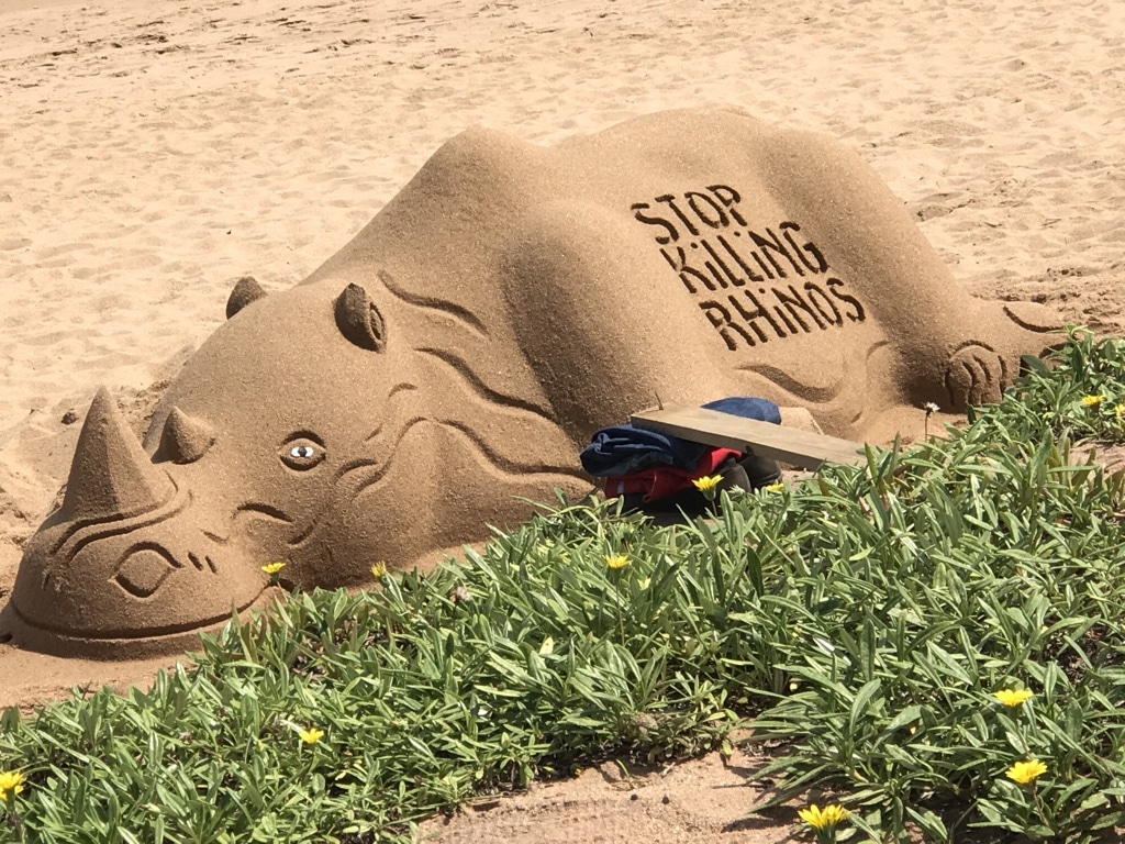 Sand sculpture on the beach at Ballito