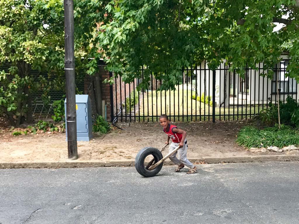 little boy with wheel
