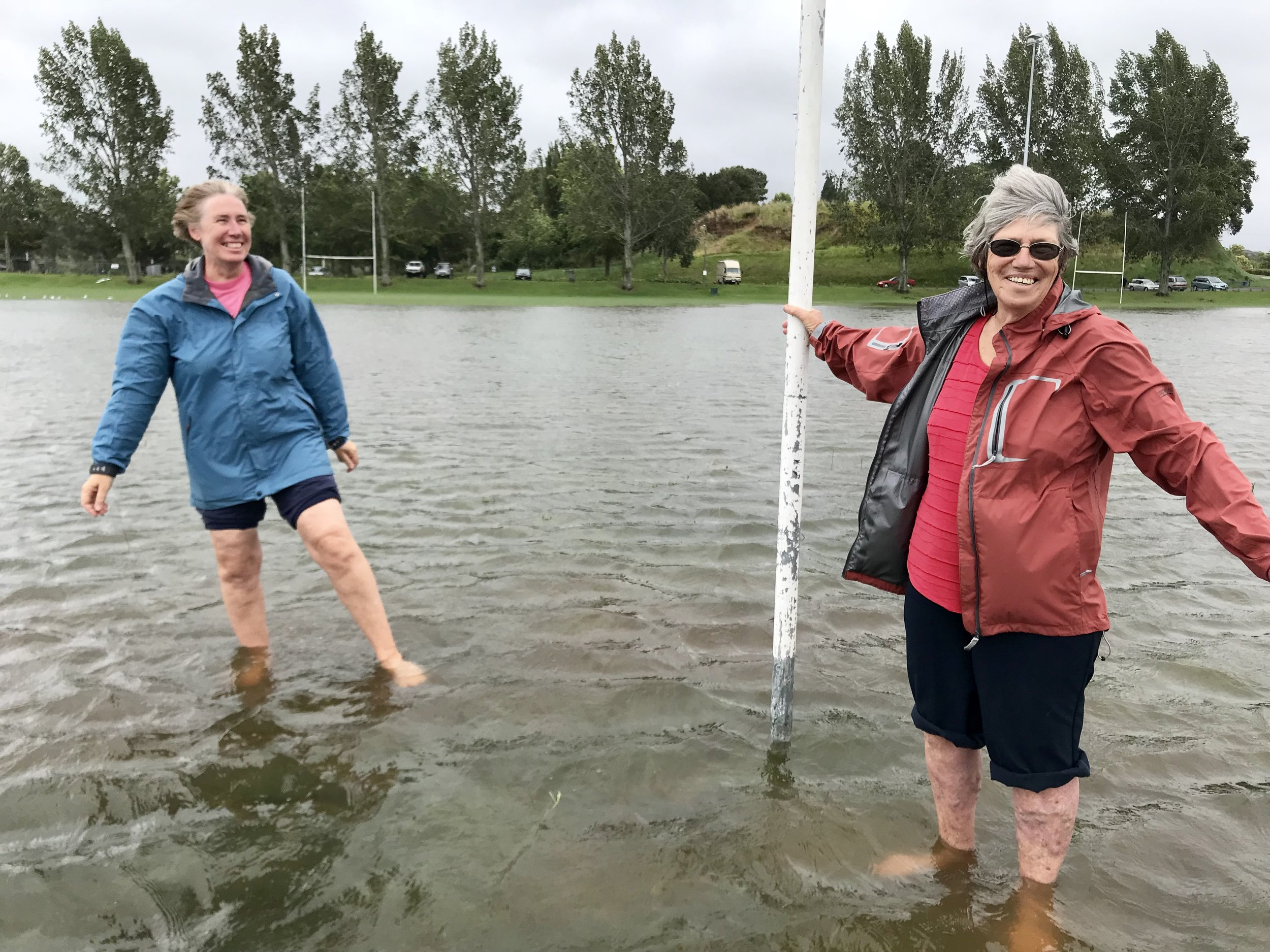 Girls playing on the flooded Memorial Field