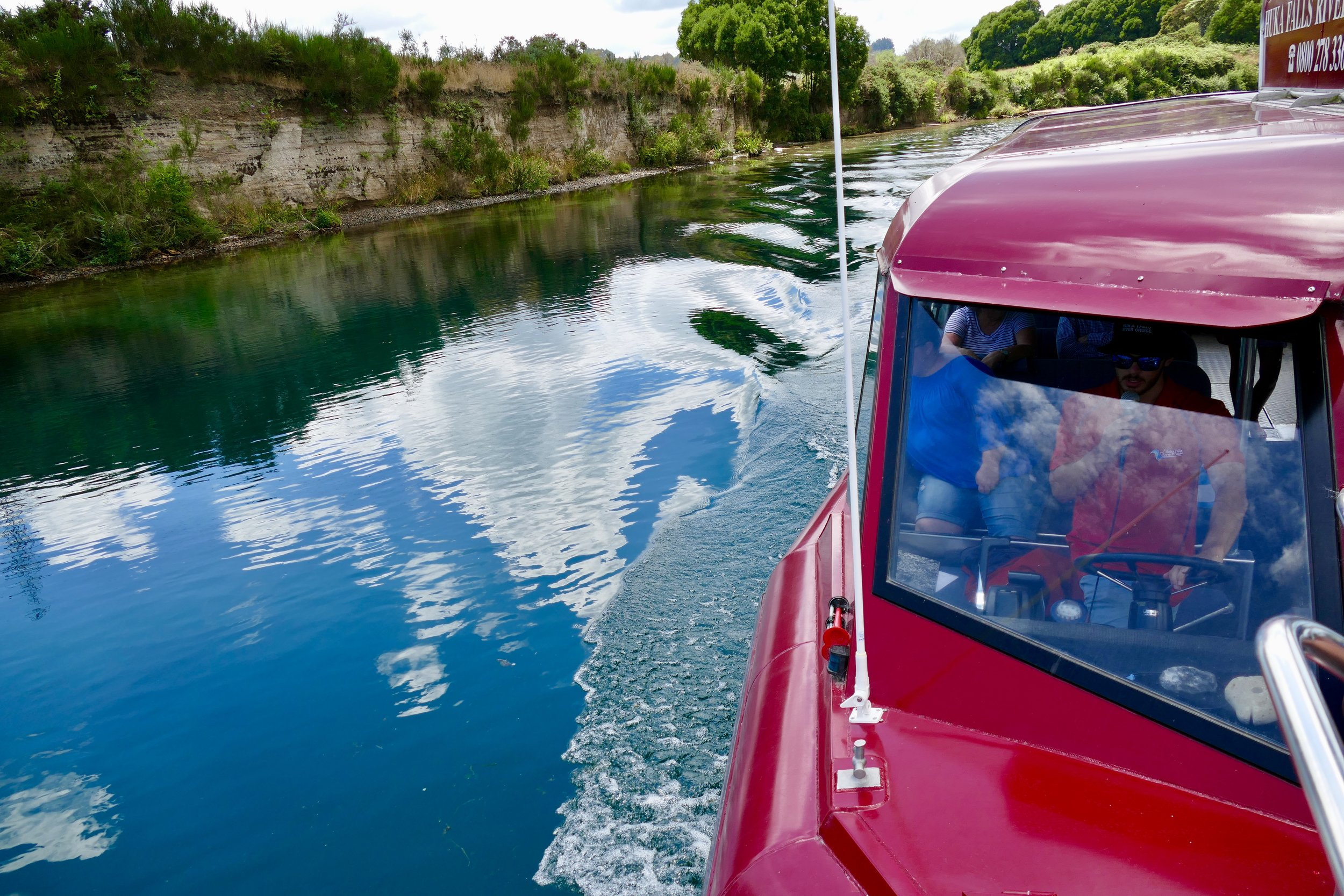 Our ride on the Huka Falls River Cruise