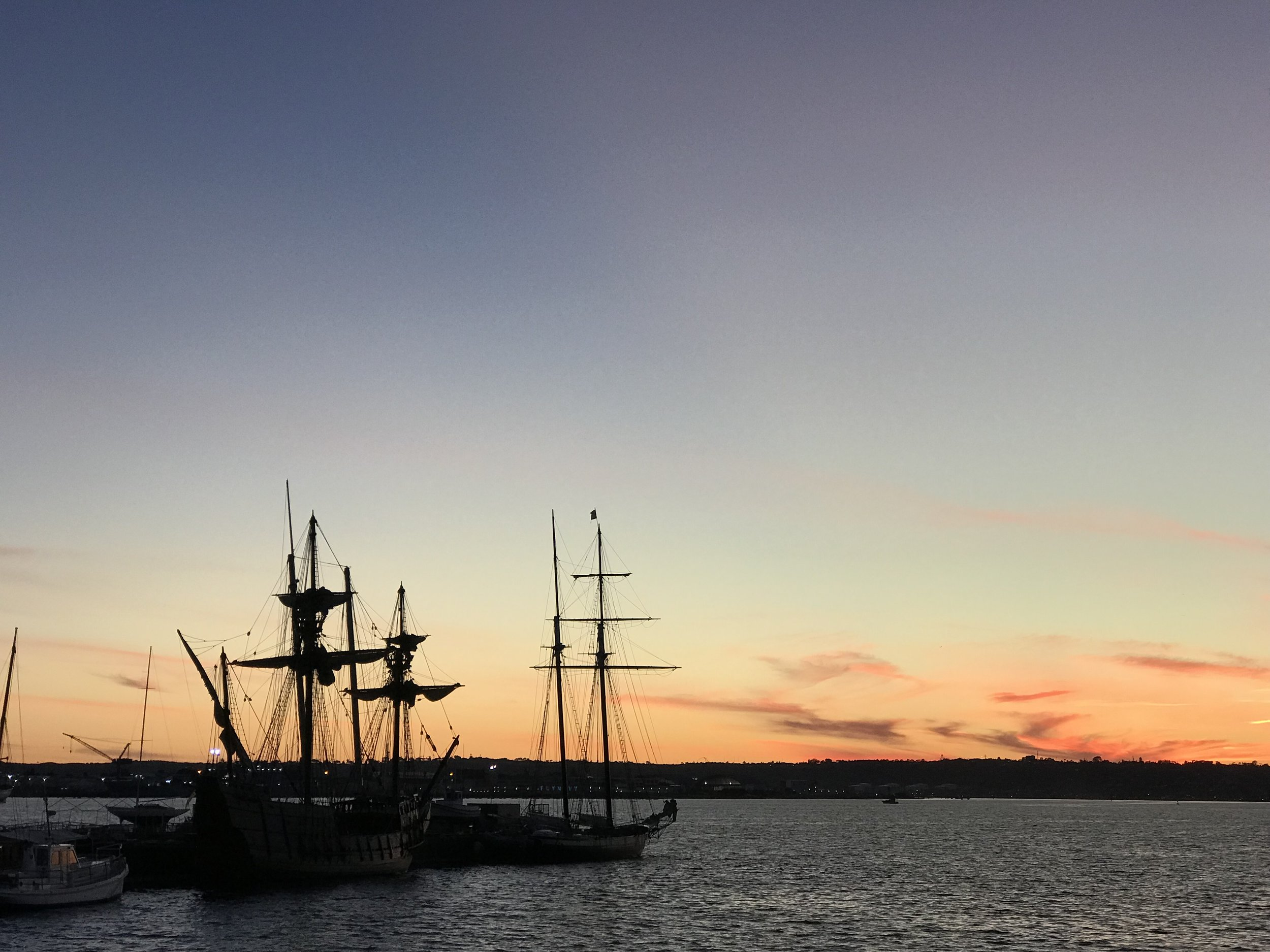 Tall ships at the San Diego Maritime Museum at sunset