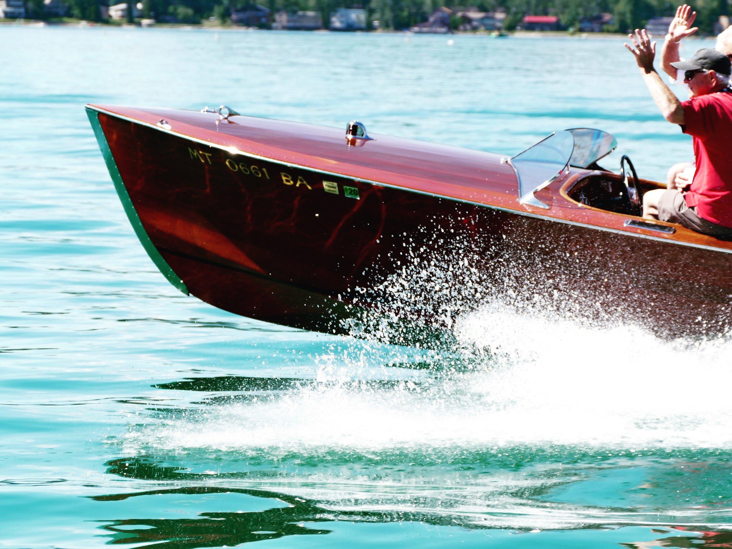 Classic speedster on Whitefish Lake