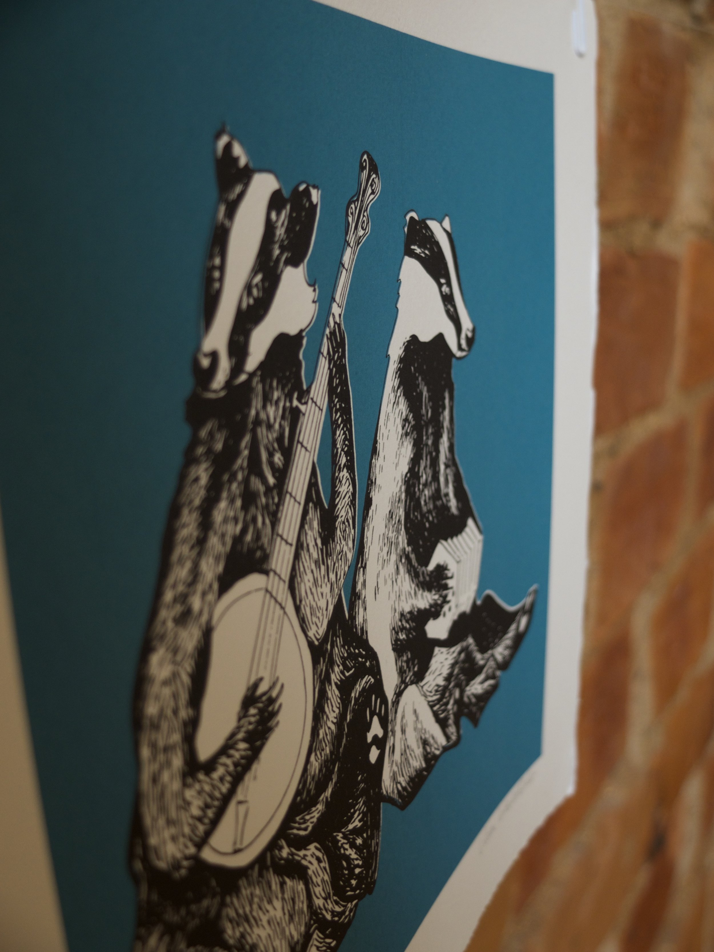 Dueling Badgers. Musical Badgers playing the Banjo and Concertina. Screen Print.