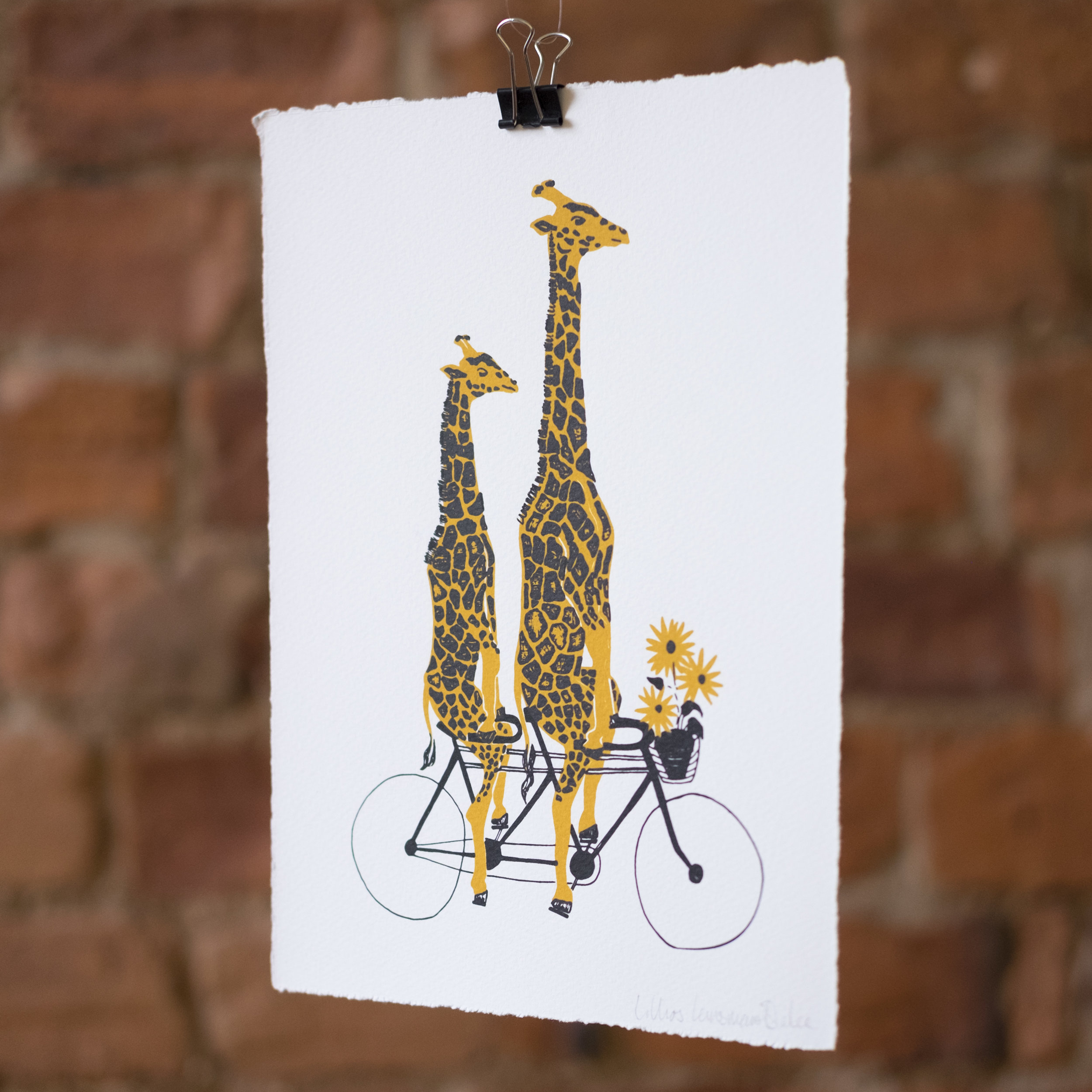A Bicycle Built for Two. Giraffe ridding a Tandem Bicycle. Screen Print.