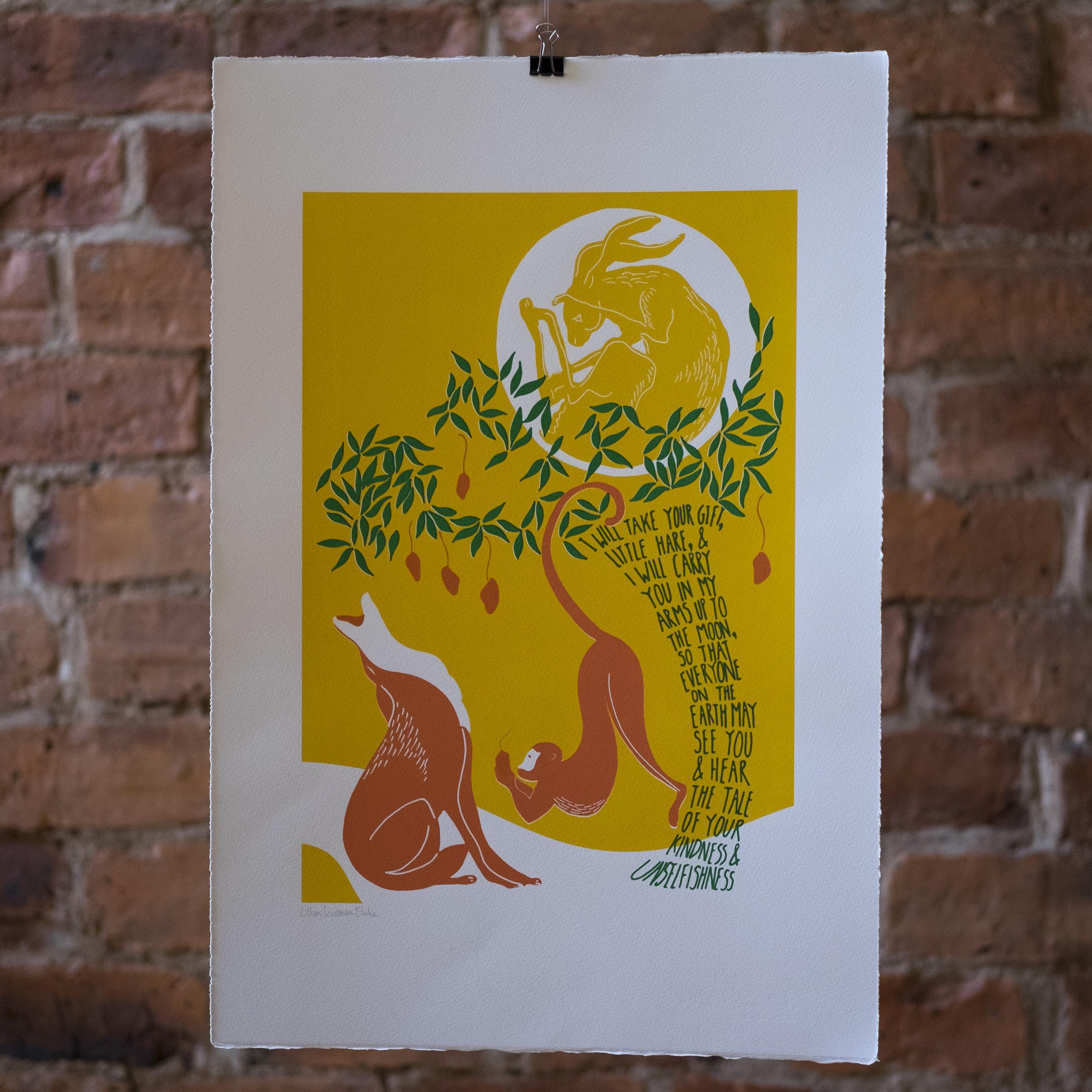 The Hare in the Moon. Indian 'Jataka' tale. Screen Print.