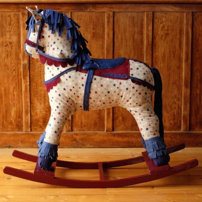 Kinsman Blake, Up cycled Rocking horse, Stars, Blue and red Harness