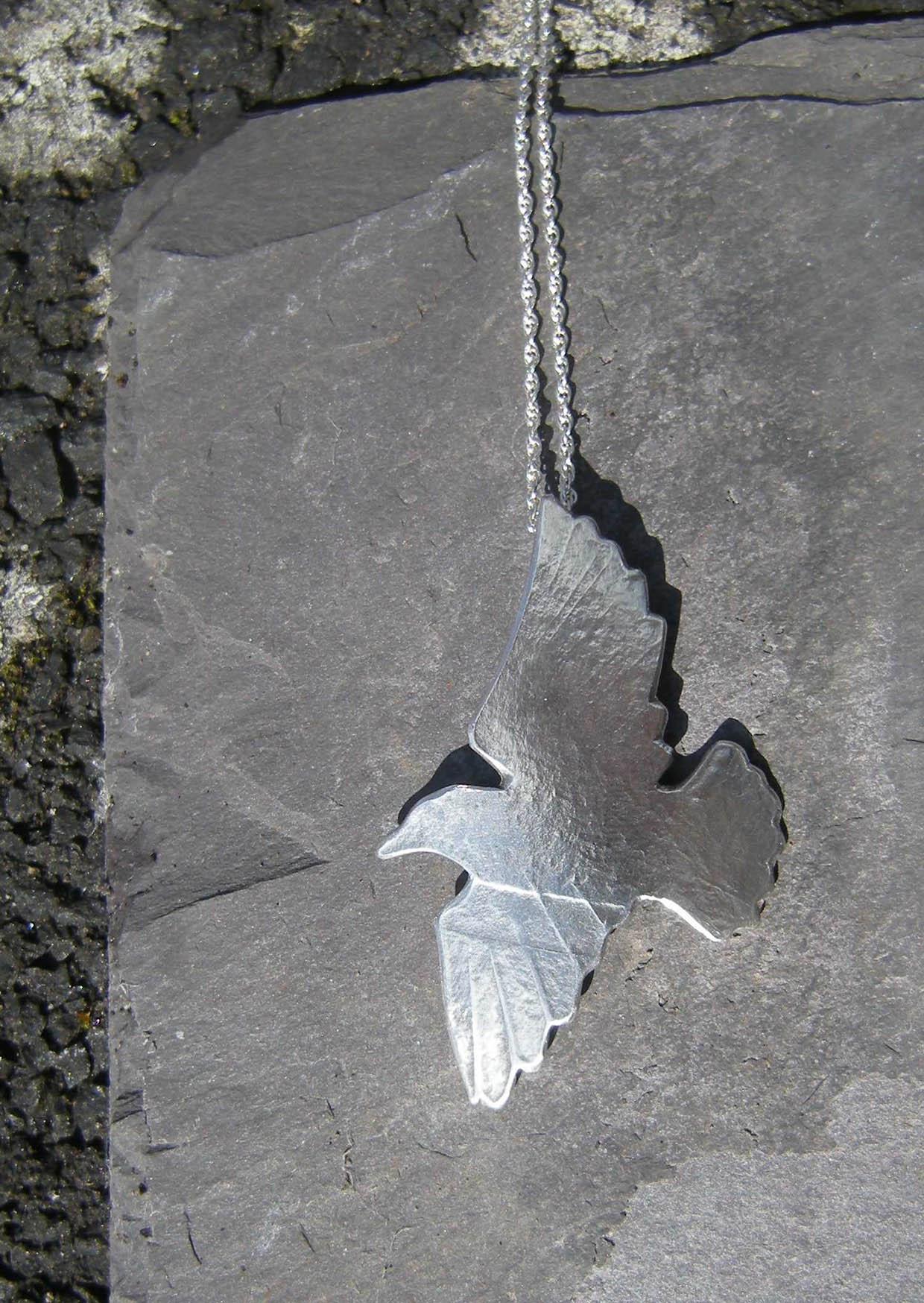 Robyn Kinsman Blake, Silver, Starling, Flying Bird Necklace
