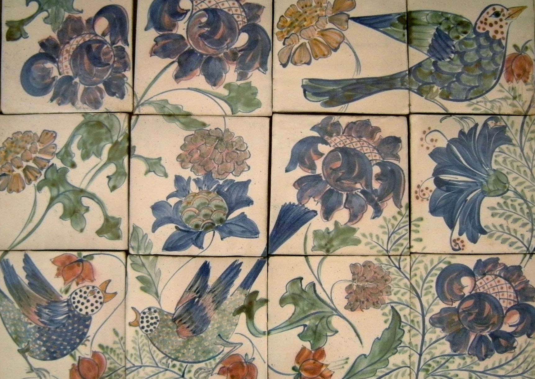 Kinsman Blake Ceramic Hand Decorated, Hand Made Tiles, Birds and Flowers