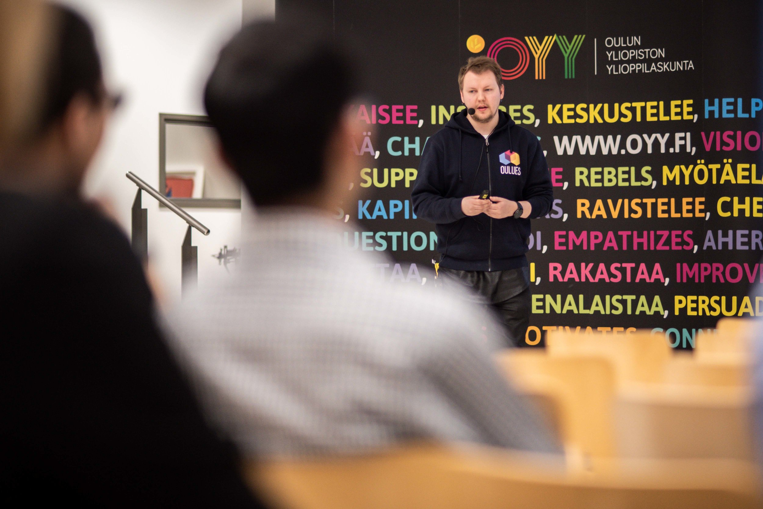 Yeah, 30 minutes keynote on skills and mindset that make you a success in working life at the University of Oulu, in English. Here's the proof I did it. It was the Löyly event that was organized by the Student Union of University of Oulu. Photo: Antti Törmä