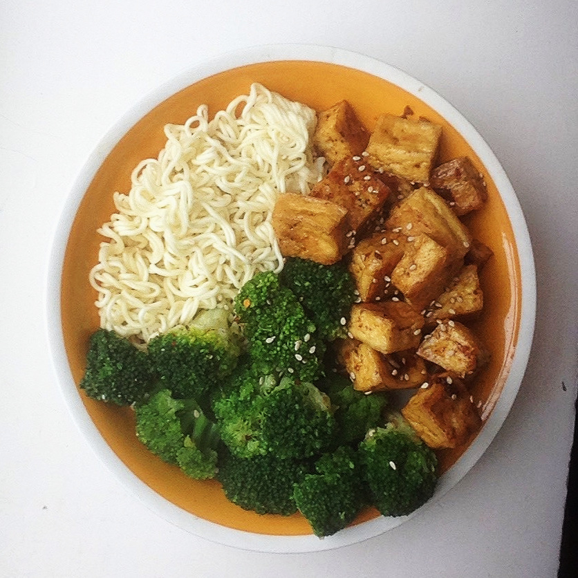 Sriracha Lime tofu with noodles