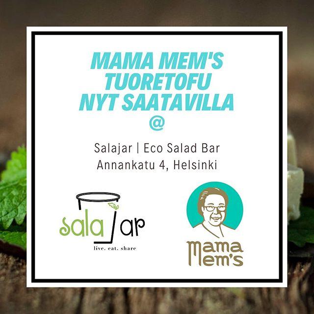 Mama Mem's Fresh Organic Tofu now also available at Salajar Eco Salad Bar (@salajar_punavuori) 🌱✌️🥗 #mamamems #tofu #luomu #fresh #organic #salajar #zerowaste #madeinhelsinki #myhelsinki #vegan #ecofriendly #vegemonday #mamamemstofu