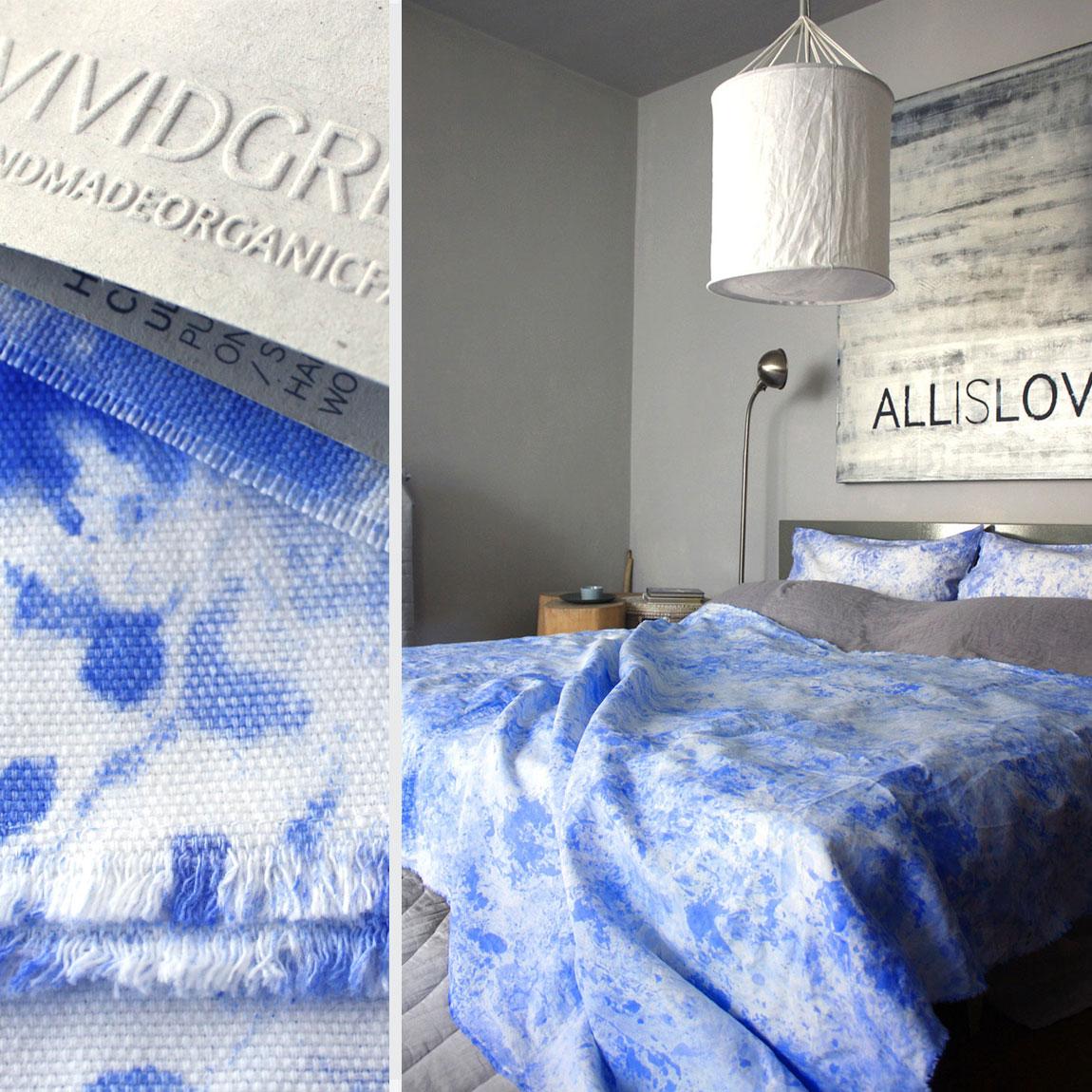 Shown above:   Hand-Painted Curtain – Ultramarine  ,   Hand-Painted Throw – Ultramarine  ,  Hand-Painted Cushion – Ultramarine