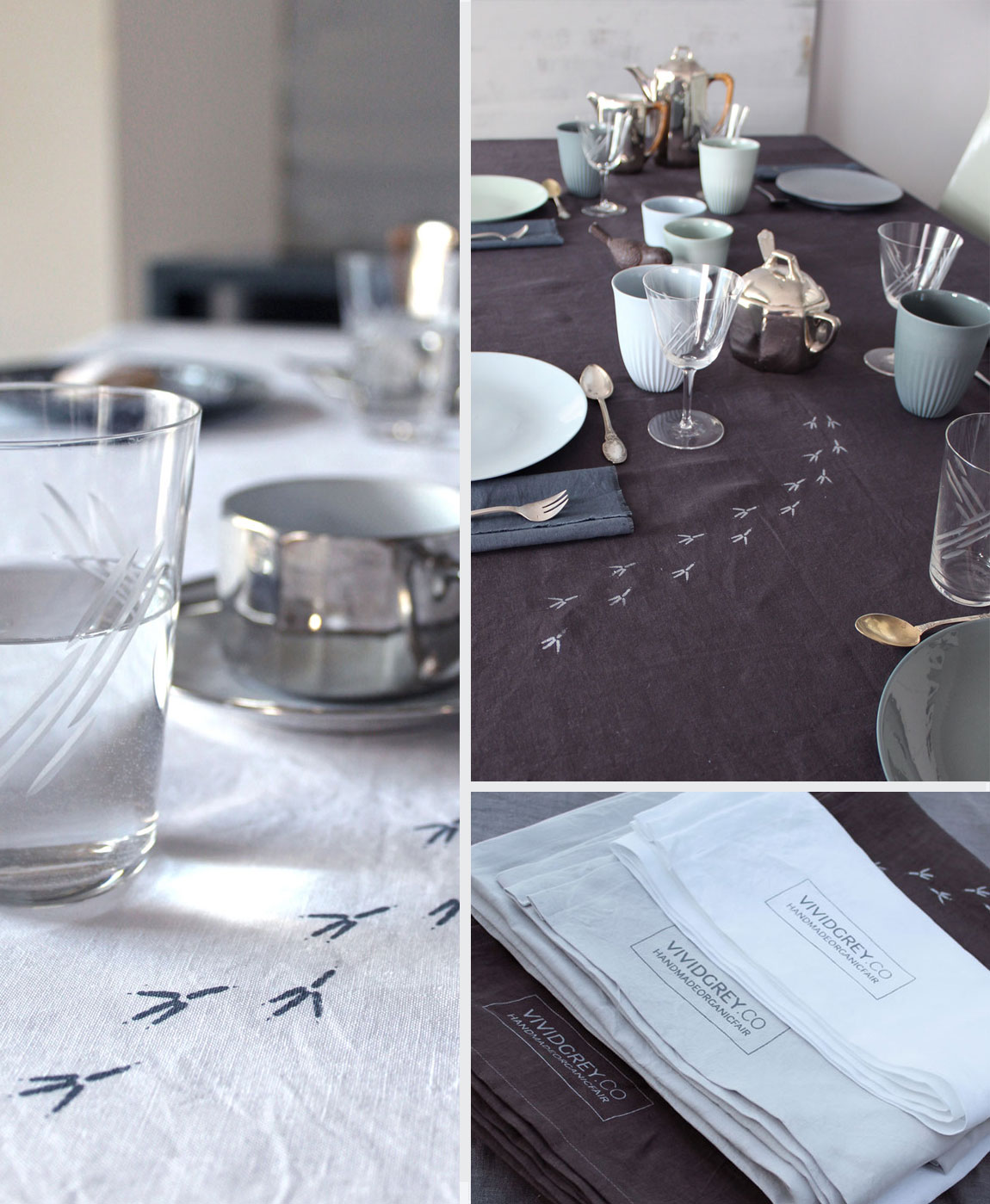 Shown above:   Traces Table Linen – Maroon, Chalk and White