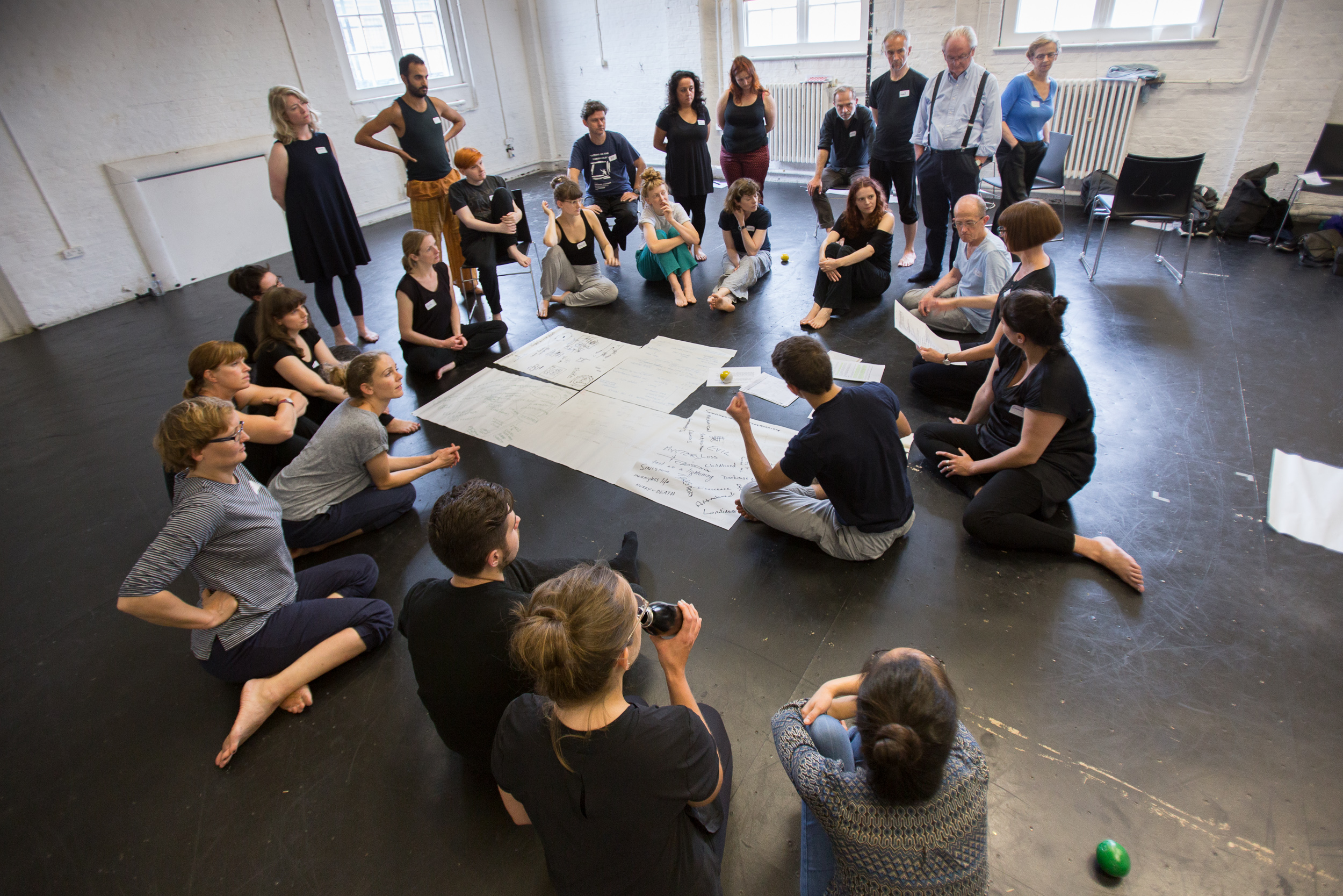 Participants charting 'objective atmosphere' in a devised theatre making praxis symposium with Dr Cass Fleming. Photo by Katerina Kotti.