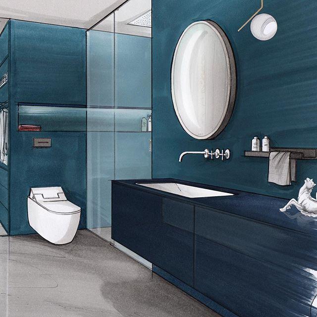 blue hour #archisketcher #bluehour #blue #architecture #markersketch #bathroomdesign #lifestyle #interiordesign